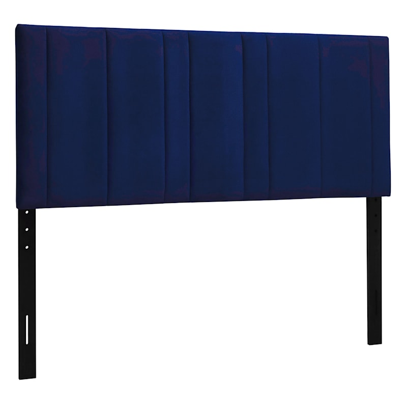 Chandler Navy Velvet Channeled Queen Headboard