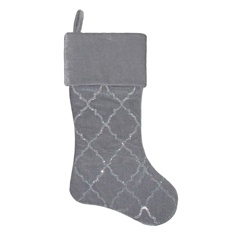 Grey Velvet Quatrefoil Glitter Stocking, 20""