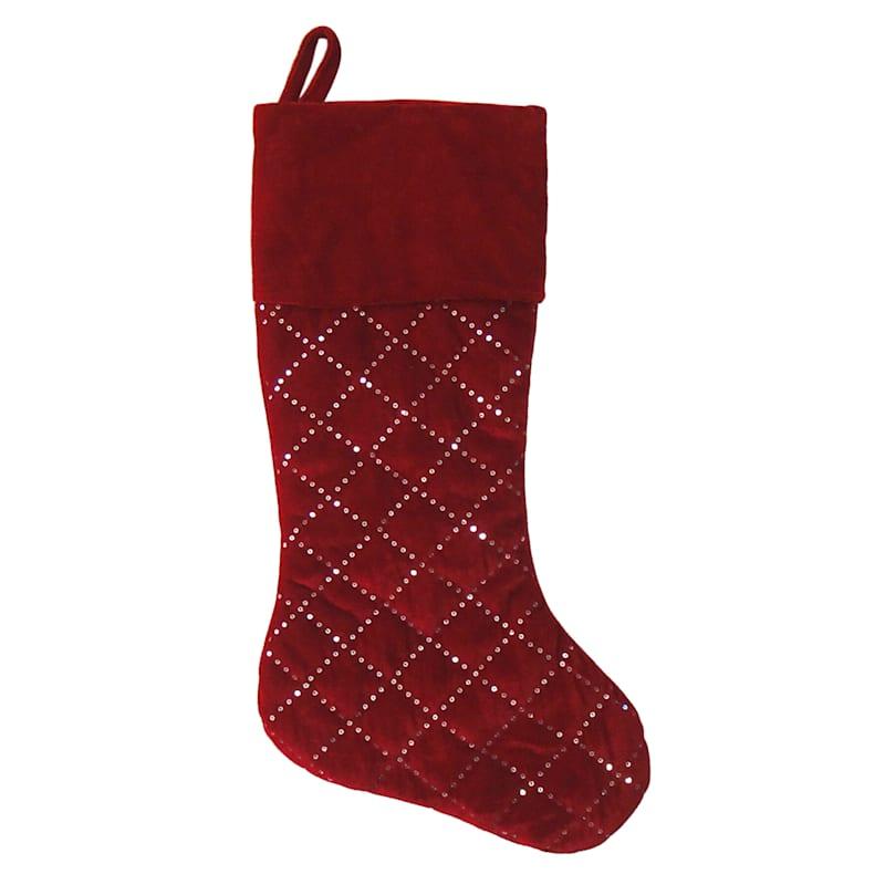 """Dark Red Quilted Velvet Christmas Stocking, 20"""""""