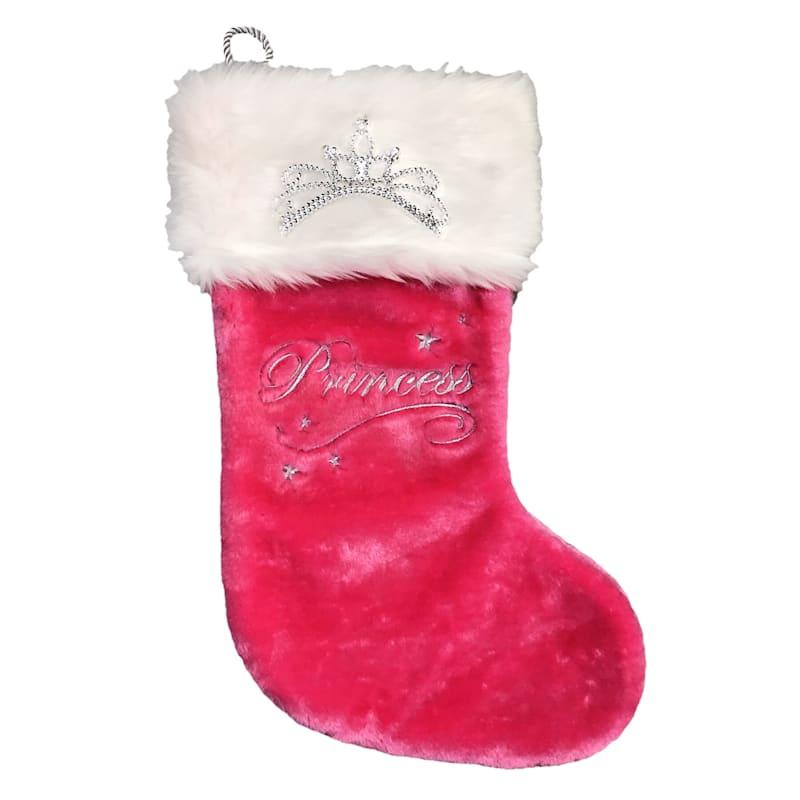 """Plush Pink Princess Stocking, 20"""""""