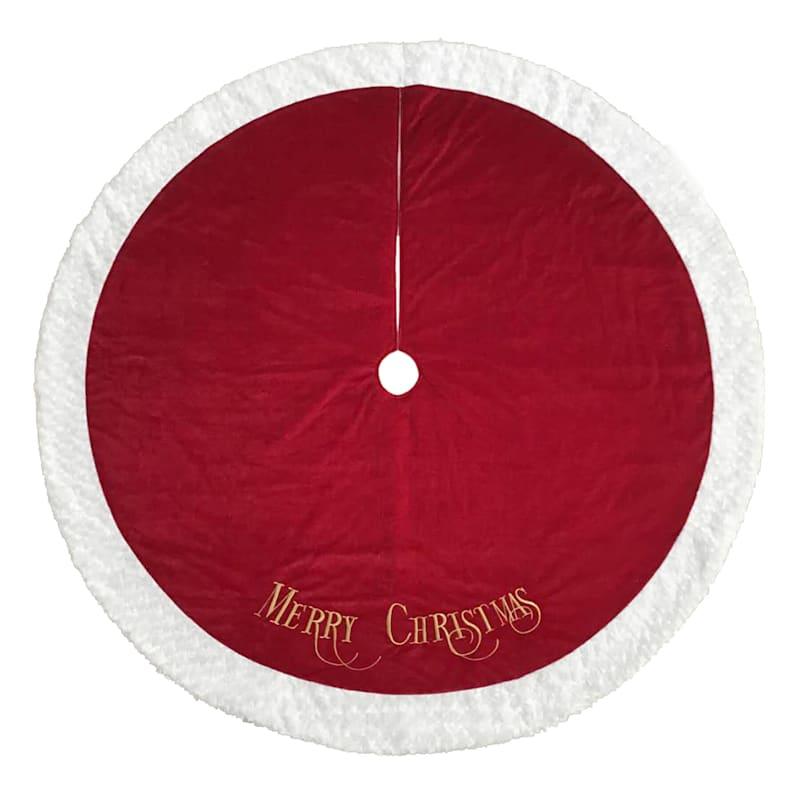 """Velvet Merry Christmas Tree Skirt, 72"""""""