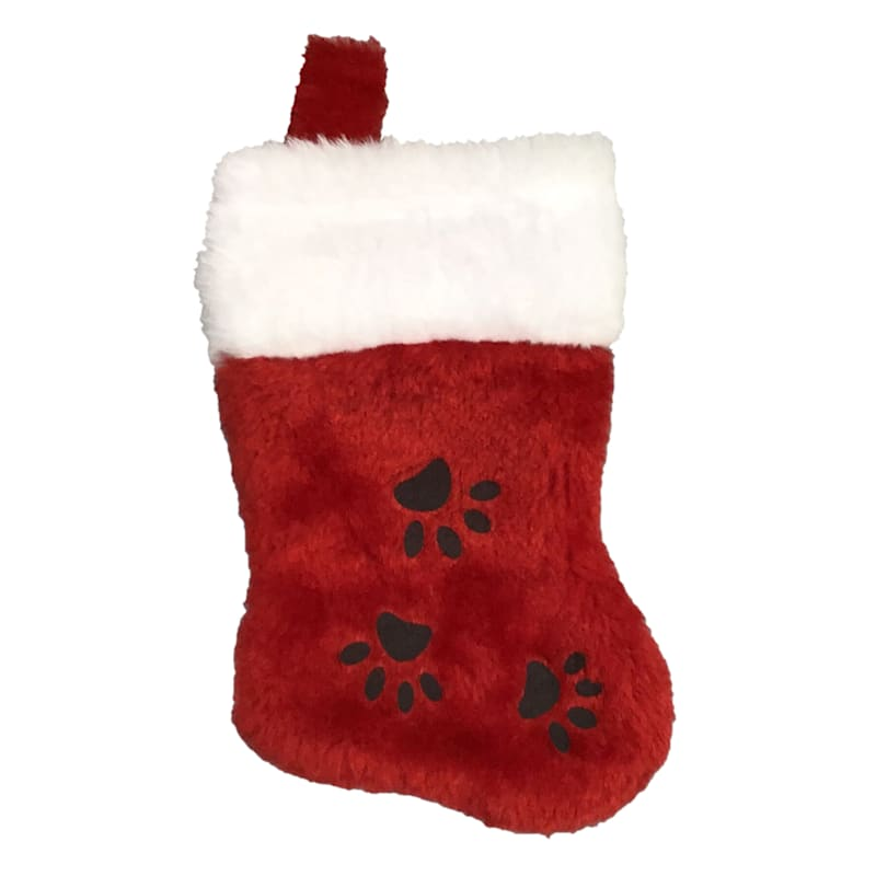 Plush Pet Stocking with Paw Prints, 7""