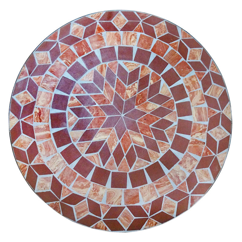Handmade 28in. Round Terracotta Outdoor Mosaic Tile Top Bistro Table