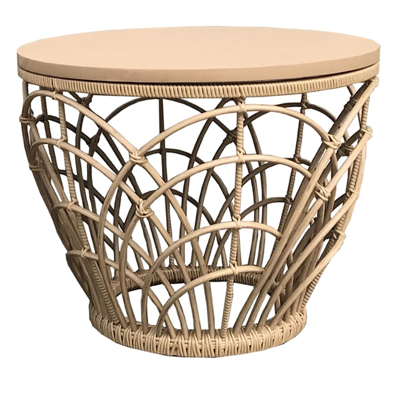 Set Of Two Outdoor Basket Tables Acacia Wood/Wicker