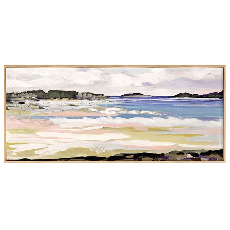 59X19 Peaceful Beach Coastal Landscape Framed Canvas Art
