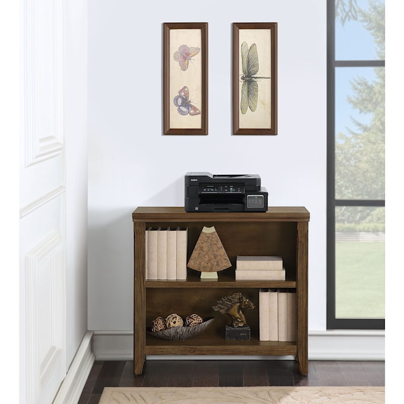 Catania 2-Tier Brown Wood & Wood Veneer Adjustable Bookshelf