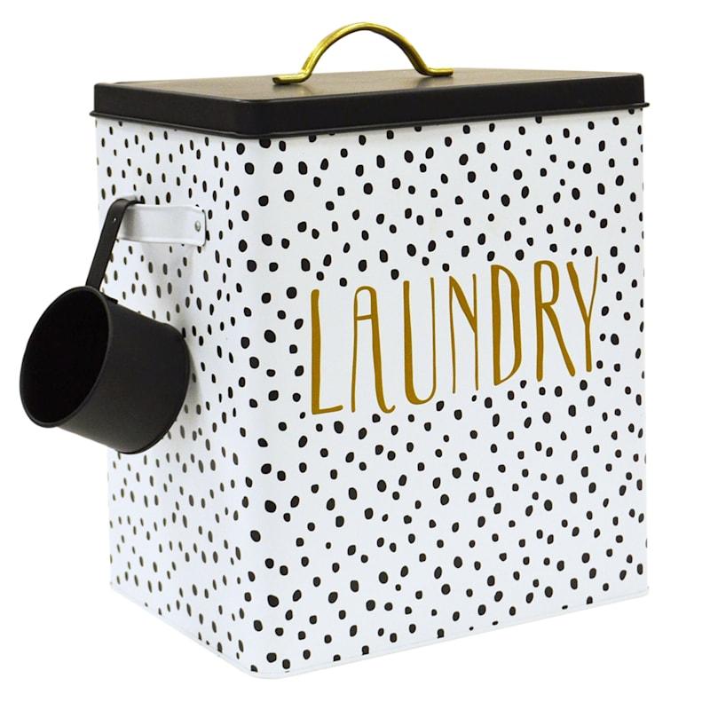 Doreen White/Black Large Metal Rectangular Laundry Canister