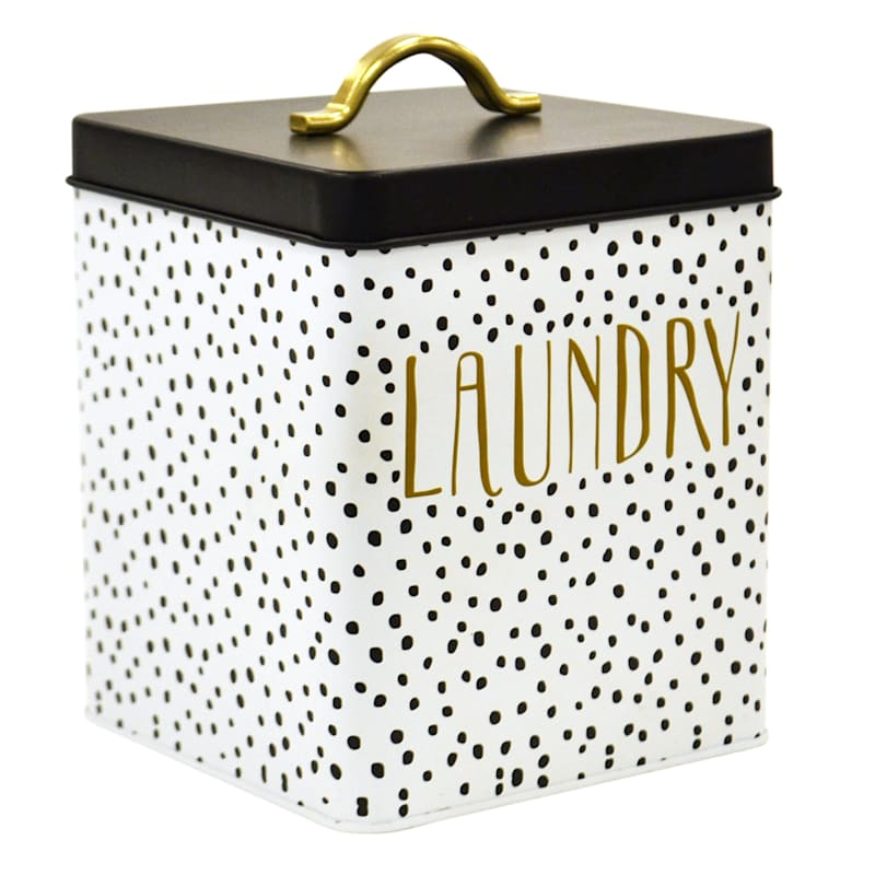 Doreen White/Black Small Metal Square Laundry Canister