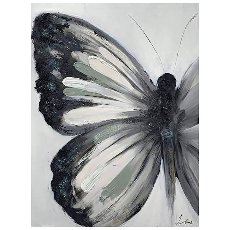 30X40 GREY BUTTERFLY CANVAS