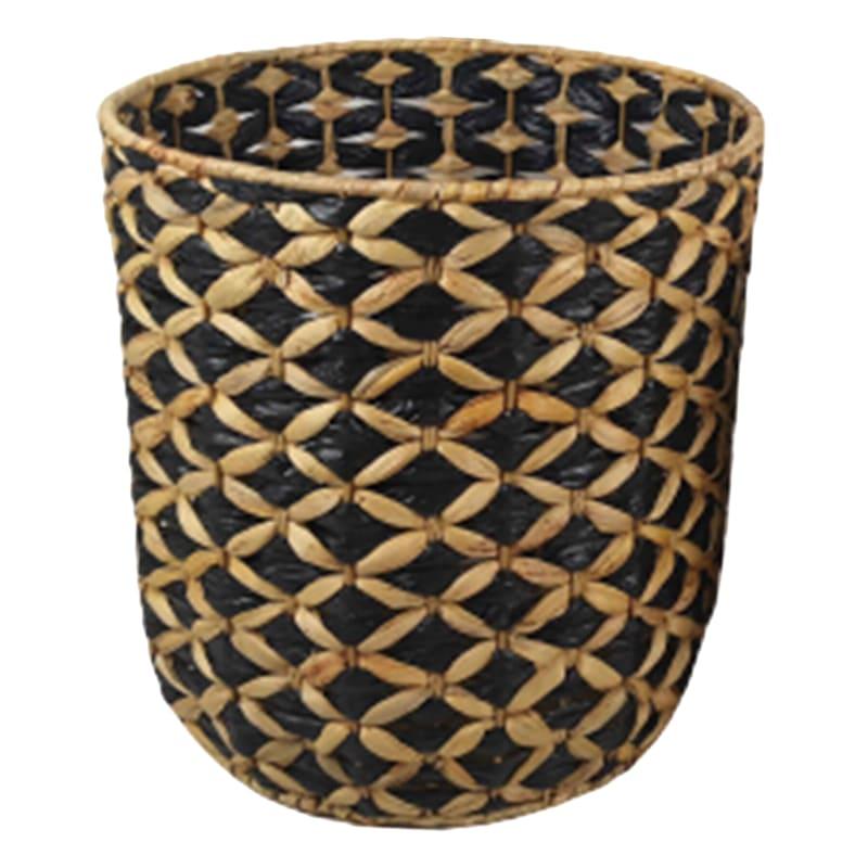 Large Round Water Hyacinth/Black Paper Basket
