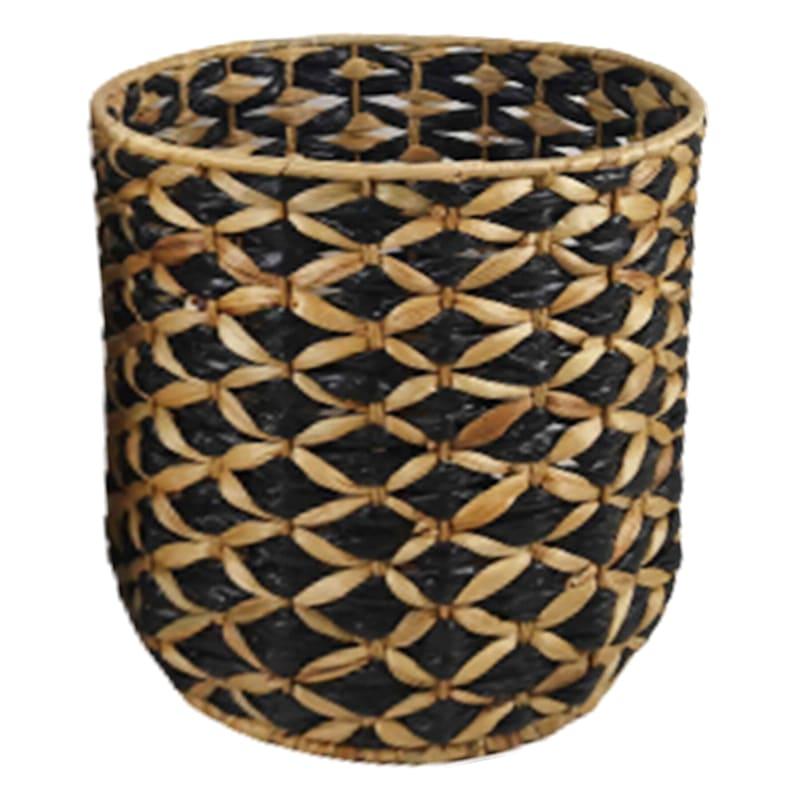 Small Round Water Hyacinth/Black Paper Basket