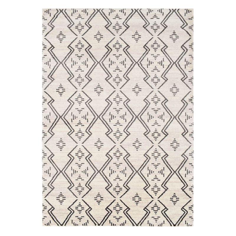 (A463) Raymond Ivory & Dark Grey Dense Ultra Soft Moroccan Style Design Rug, 8x10