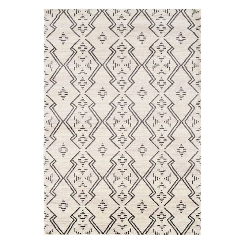(A463) Raymond Ivory & Dark Grey Dense Ultra Soft Moroccan Style Design, 3x5