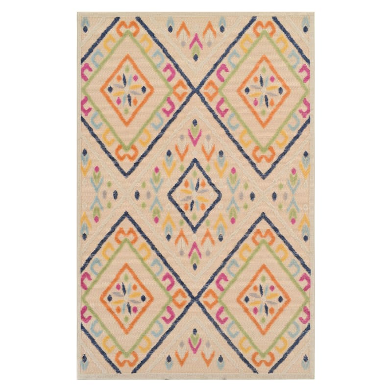 (E287) Yellow & Ivory High/Low Outdoor Bold Diamond Design Rug, 8x10