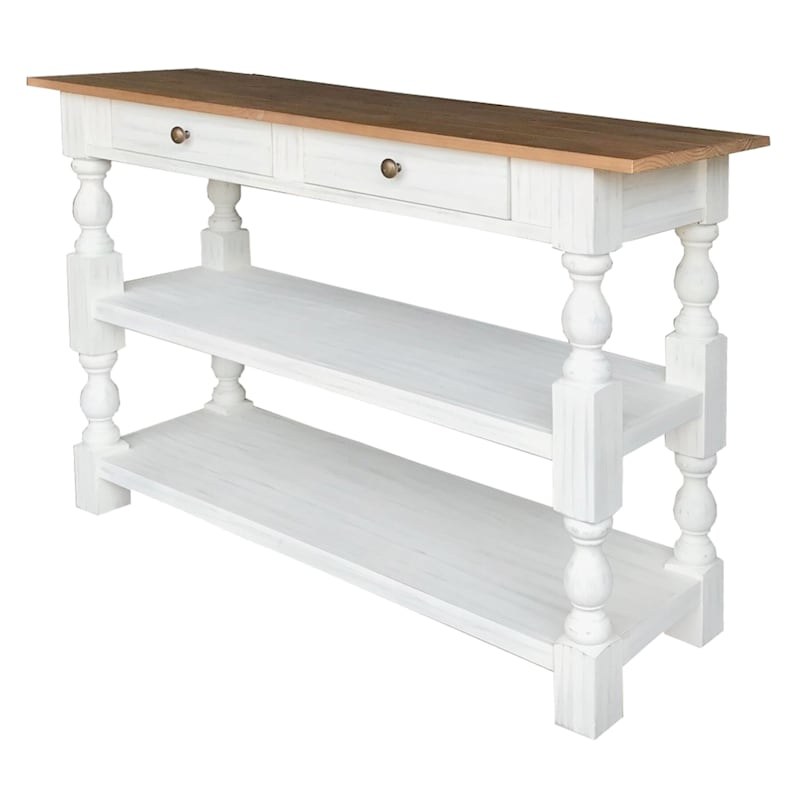 52in. 2 Drawer 2 Shelf Console Table