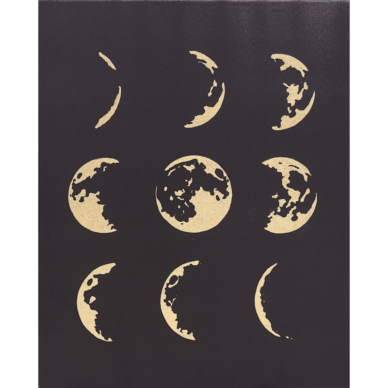 16X20 Moon Phases Gold Foil Canvas Wall Art
