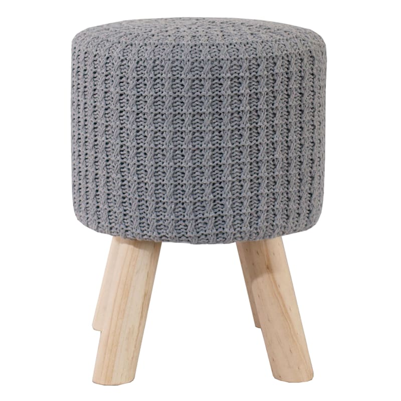 CROCHET WOODEN STOOL GREY