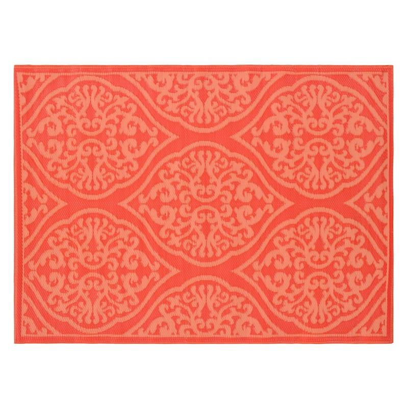 (E293) Orange & Salmon Modern Medallion Outdoor Plastic Rug, 5x7