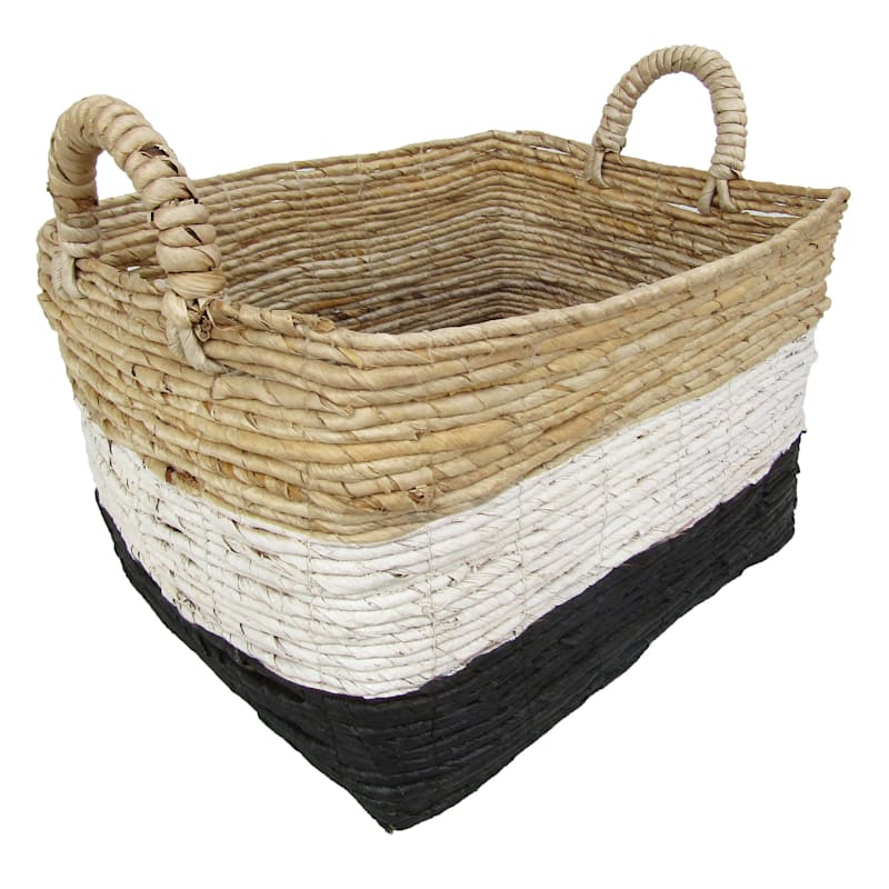 Banana Rectangle Natural Black/White Stripes Small Basket