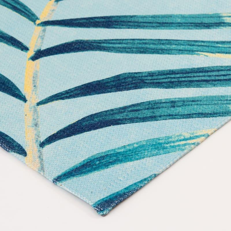 (E288) Giant Palm Blue & Green Indoor/Outdoor Woven Area Rug, 7x10