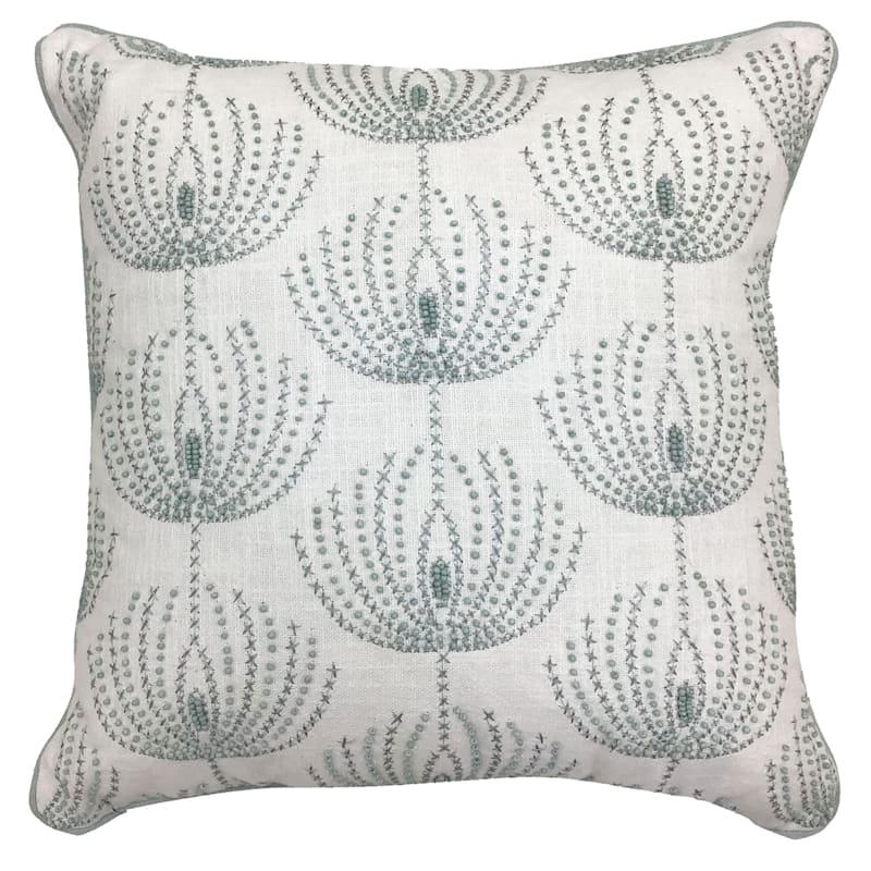 White Beaded Embroidered Pillow 18X18