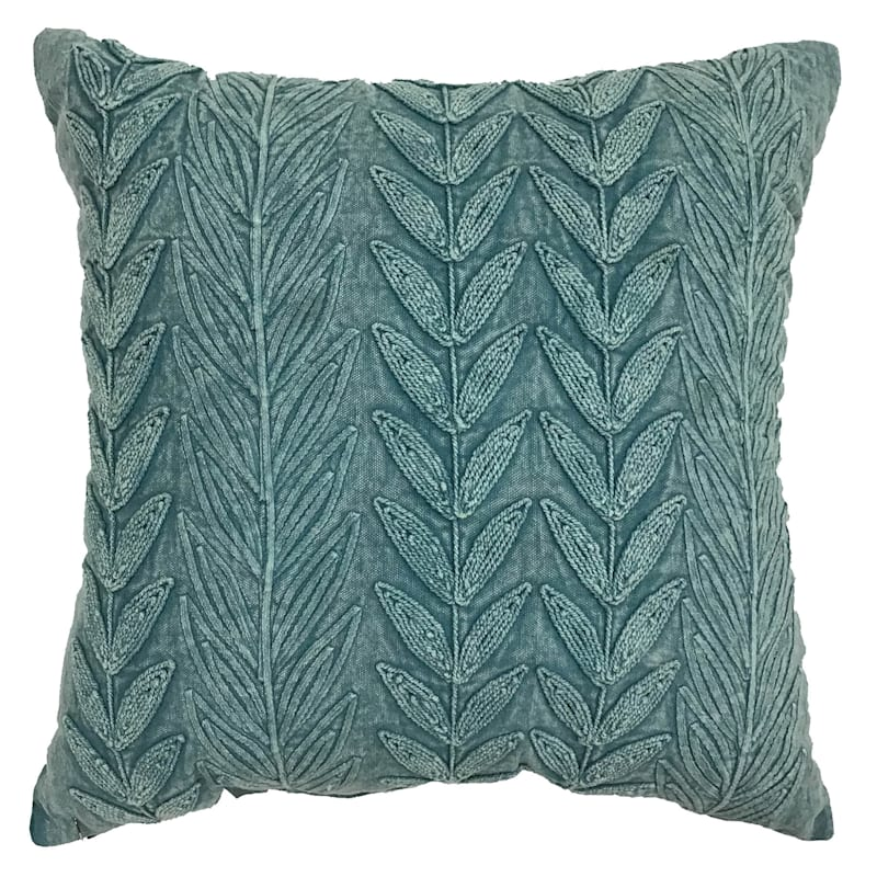 Green Acid Wash Leaves Embroidered Pillow 18X18