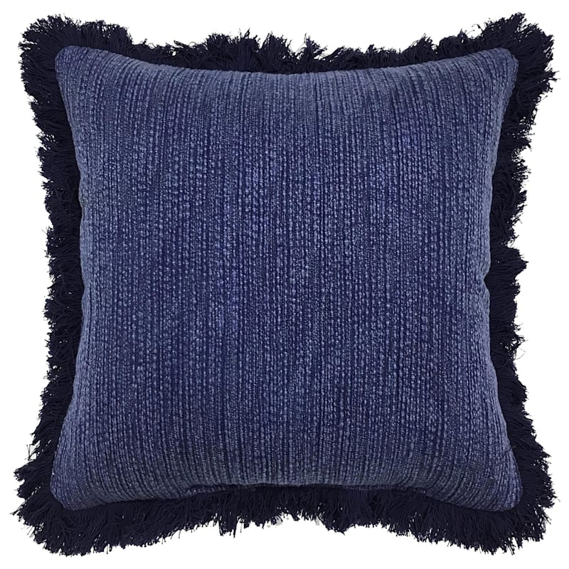 Tracey Boyd Blue Acid Washed With Fringe Pillow 18X18