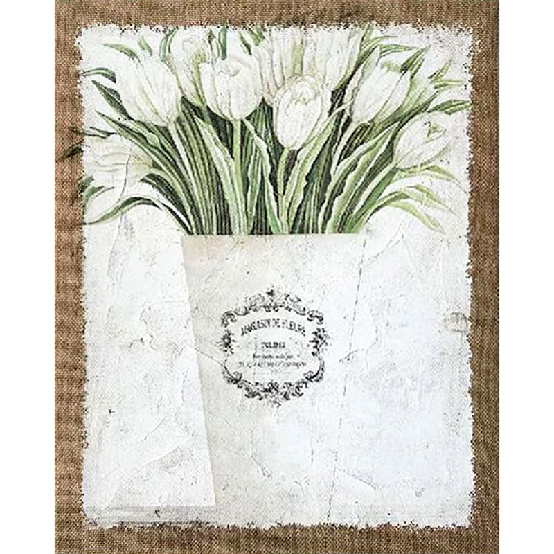 White Tulips Canvas Framed Canvas Wall Art