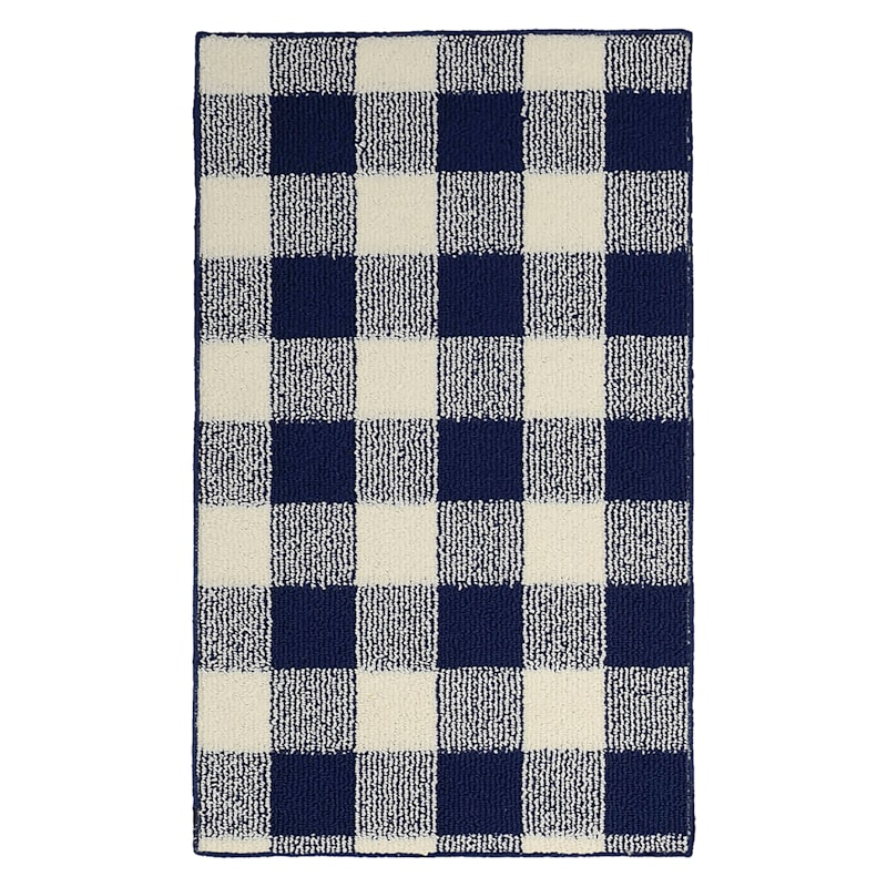 PLAID NAVY/IVORY LOOP 24X40
