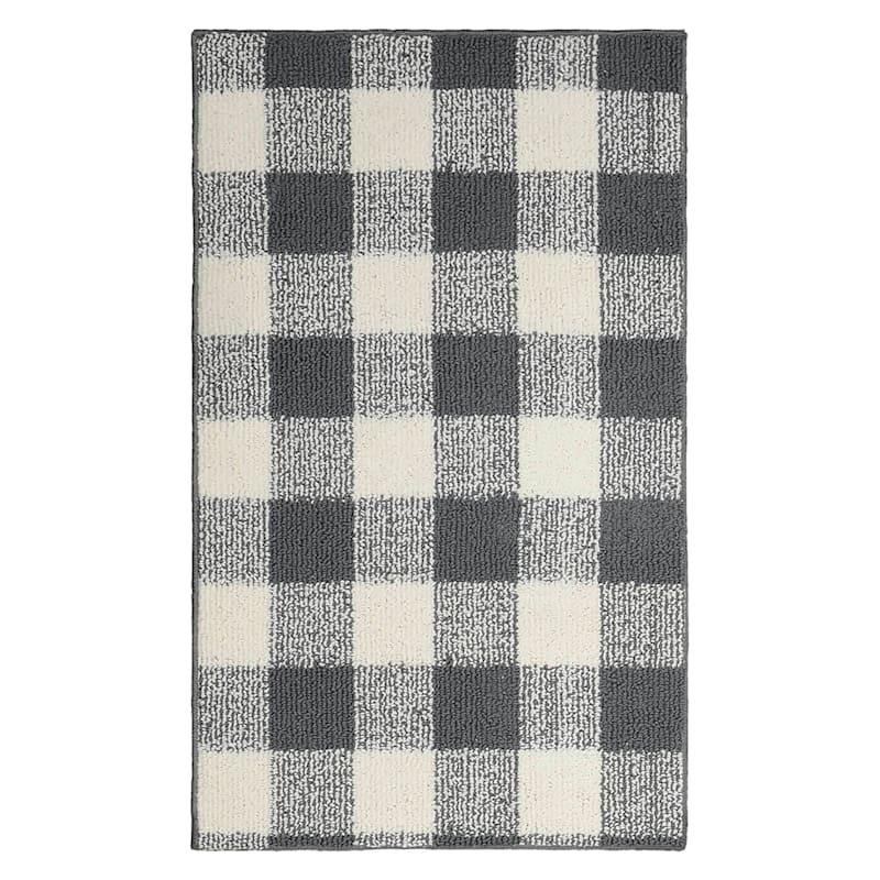 """Grey/Ivory Plaid Loop Rug, 2' x 3'4"""""""