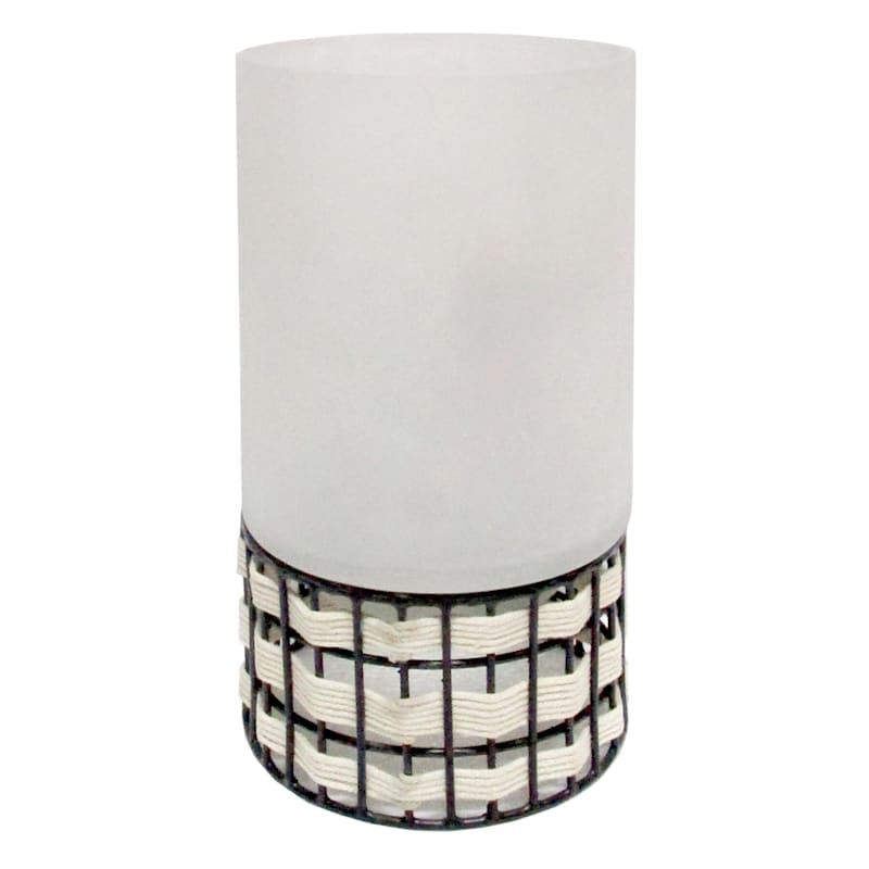 9in. Frosted Glass Woven Hurricane