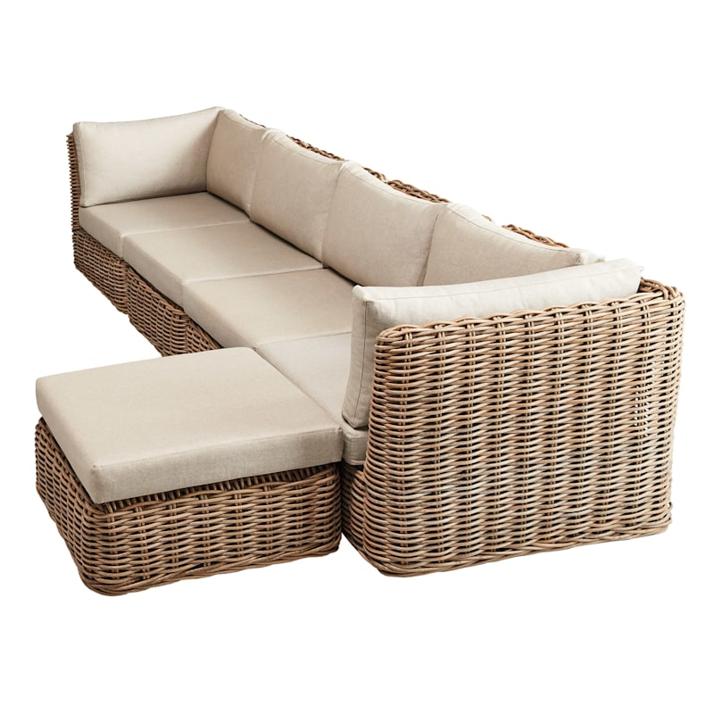 Set of 2 Hamptons All Weather Wicker Armless Chair with Cushion