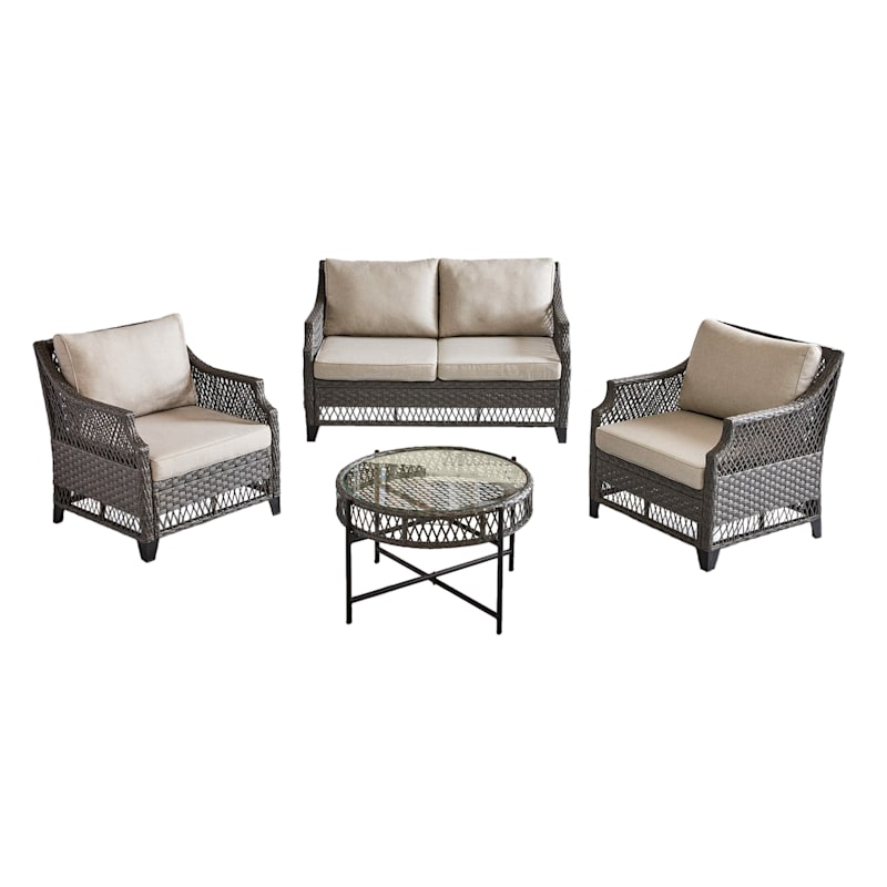 Rochester All Weathered Wicker Loveseat with Cushion, Dark Gray