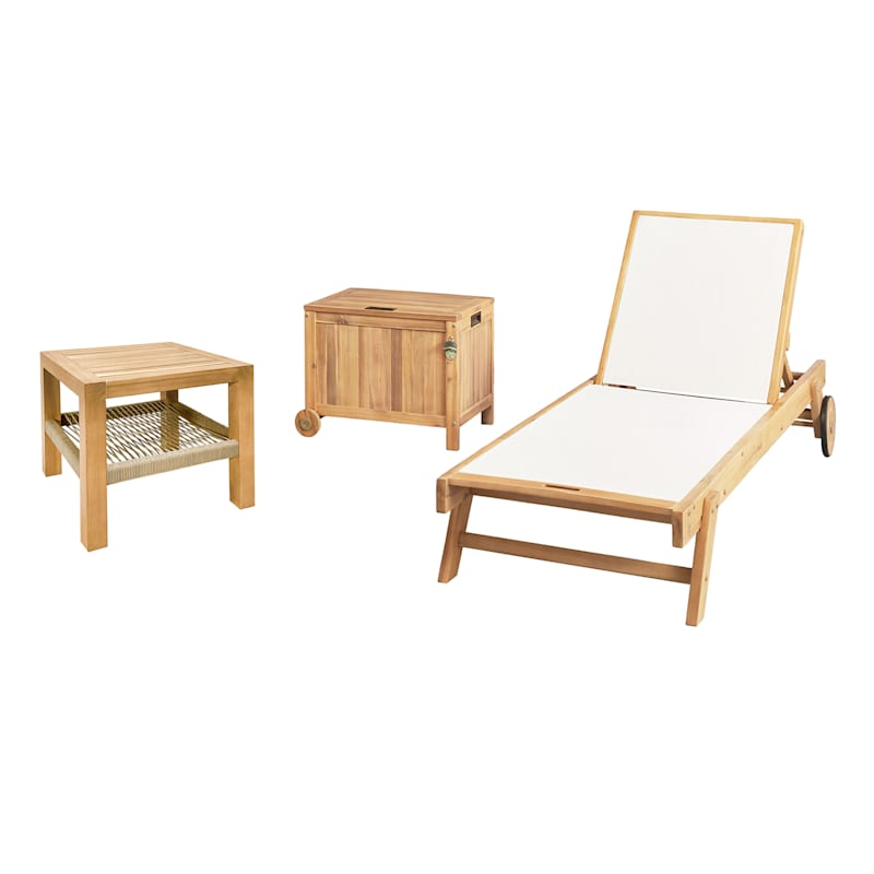 Park City Blonde Acacia Wood/Rope Accent Outdoor End Table