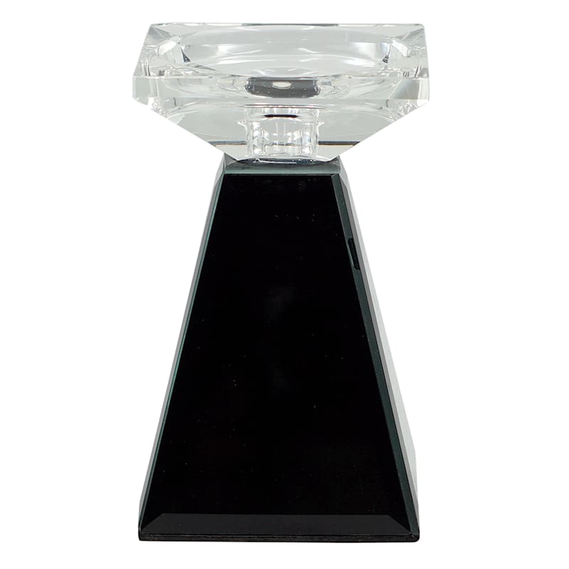 6in. Black Glass Candle Holder