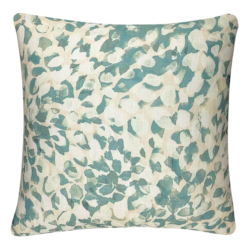 Green Watercolor Linen Pillow 18X18