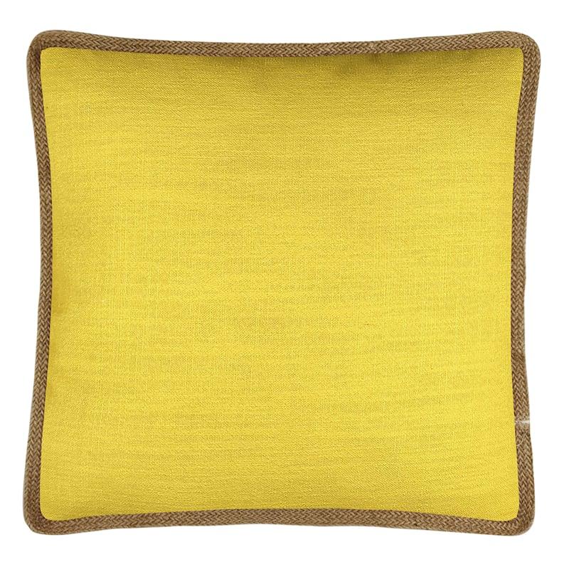 """Grace Mitchell Yellow Jute Trim Linen Pillow, 18"""""""
