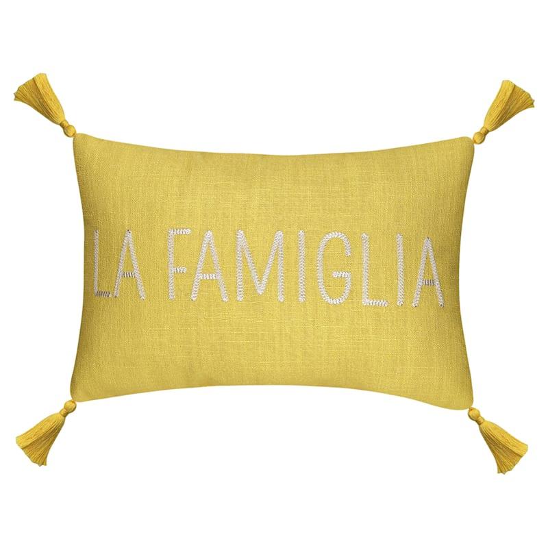 Yellow La Famiglia Pillow 12X18