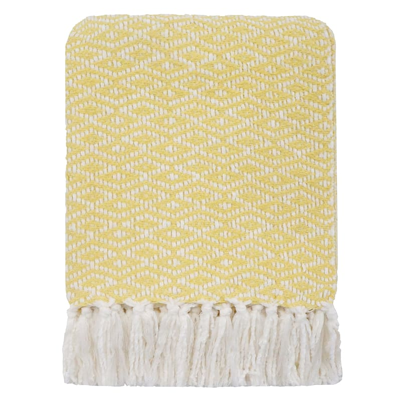 Crystal Chenille Woven Yellow Throw 50X60