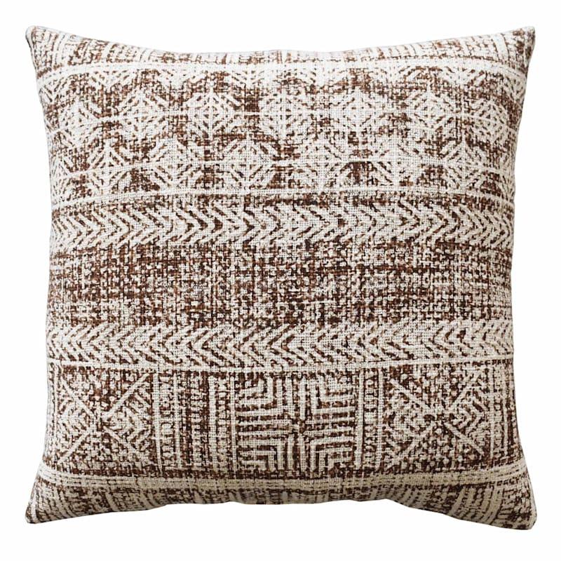 Brown Tribal Print Texture Pillow 18X18