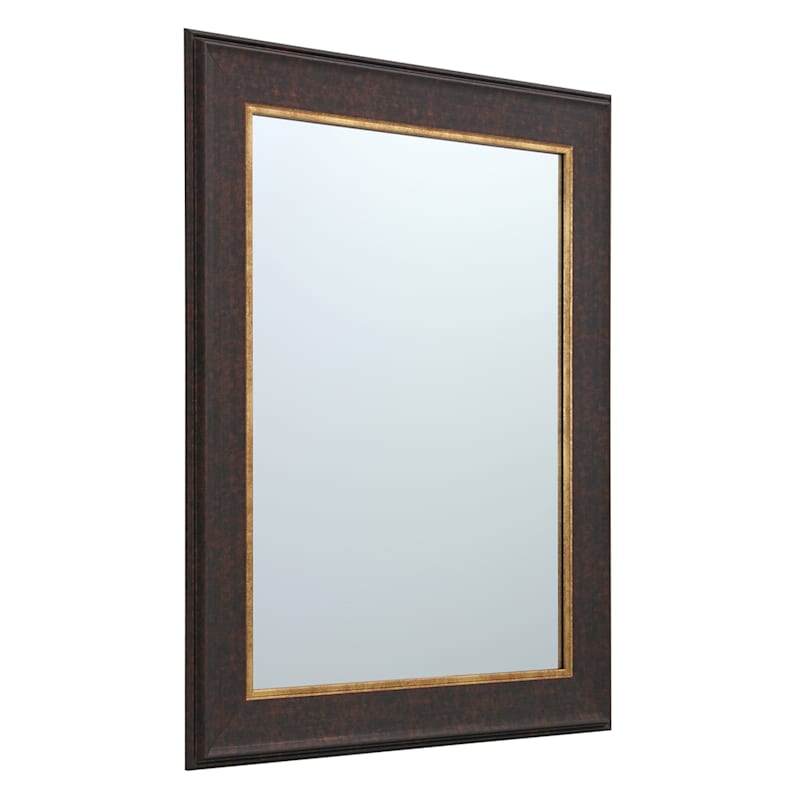 22X28 Brown With Gold Framed Mirror