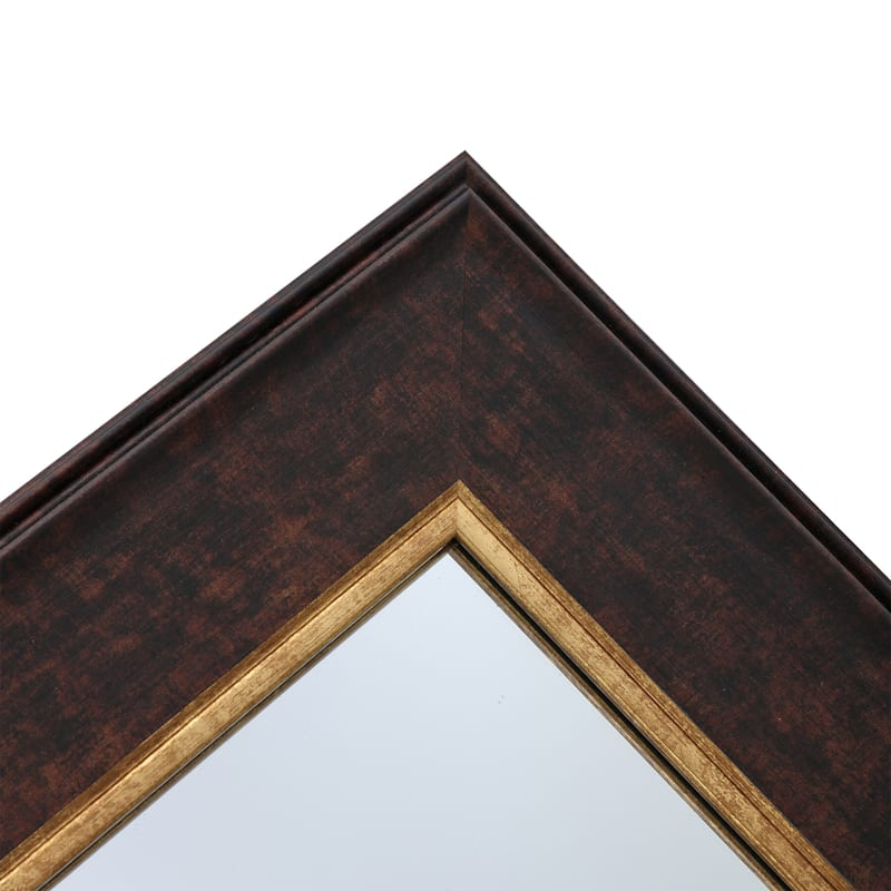 24X36 Brown With Gold Framed Mirror