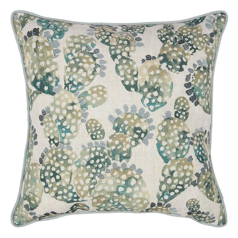 Blue/Green Printed Cactus Pillow 18X18
