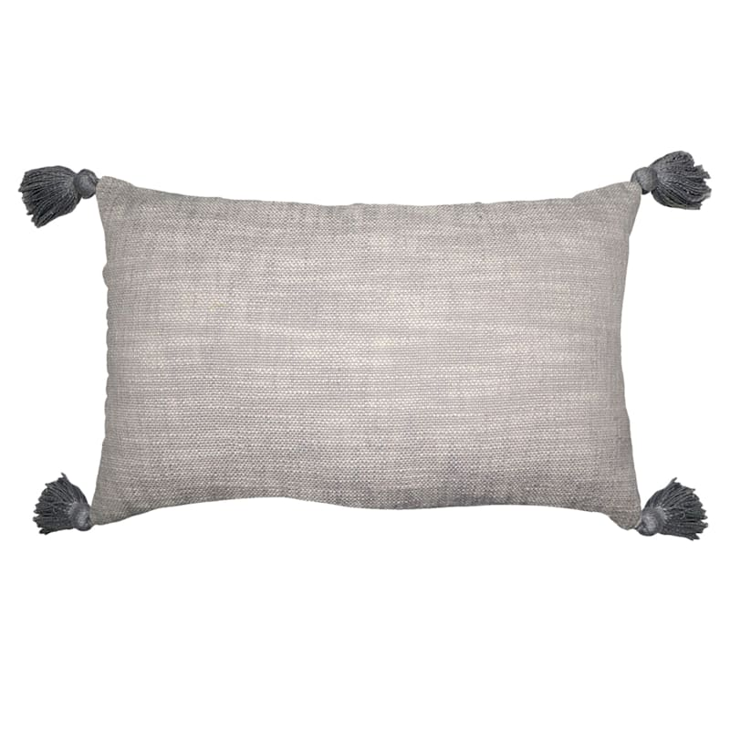 Oblong Deco Stripe With Tassels Pillow 14X24