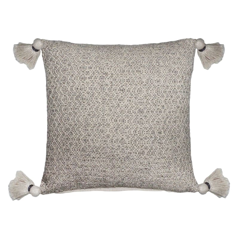 Brown Woven Pillow With Tassels 18X18