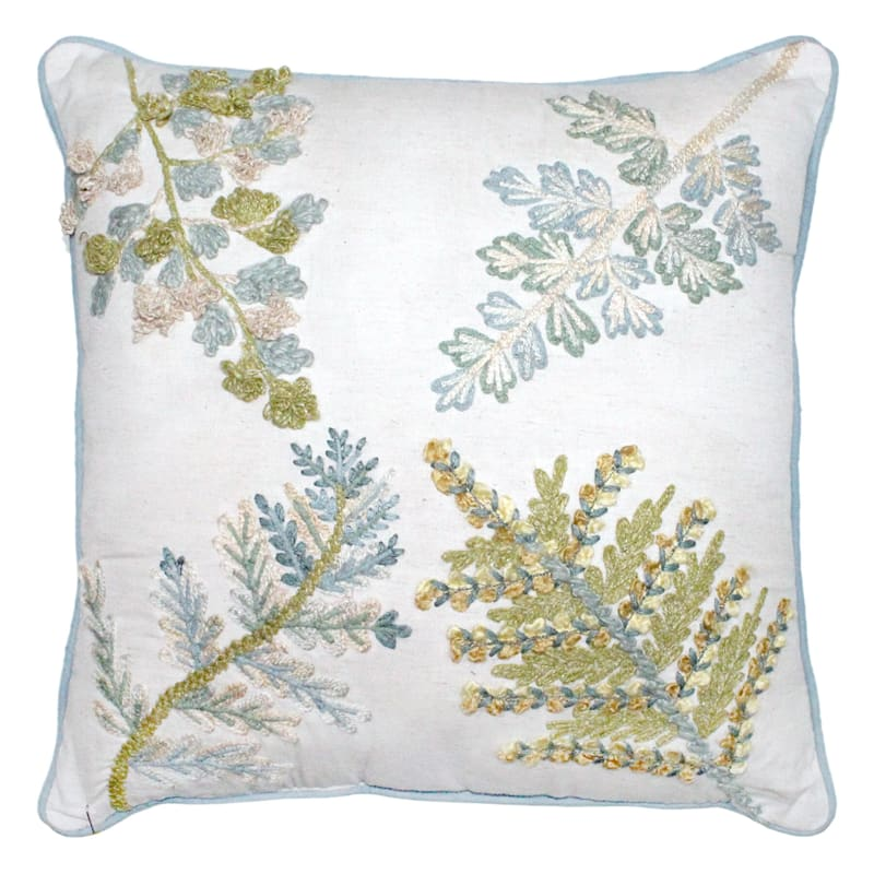 Leaf Embroidered Pillow 18X18