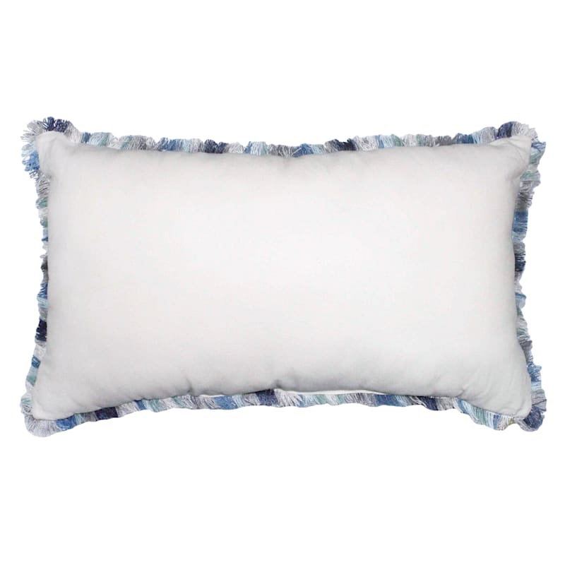 Oblong Embroidered Floral Pillow 14X24