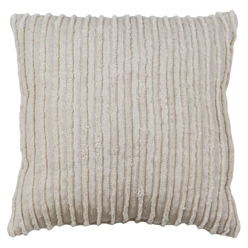 Ivory Striped Woven Pillow With Lurex 18X18