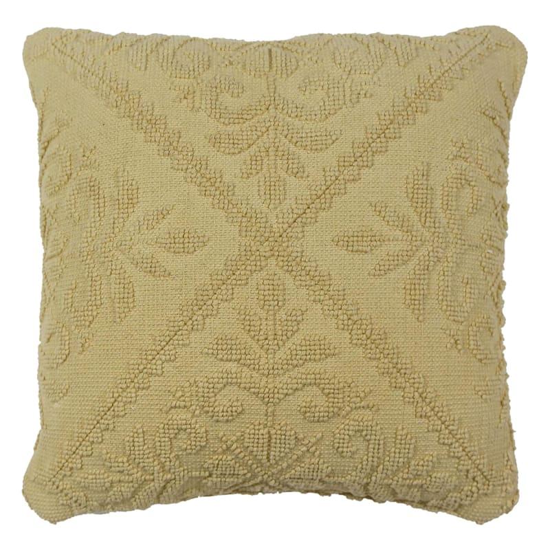 Yellow Jacquard Pillow 18X18