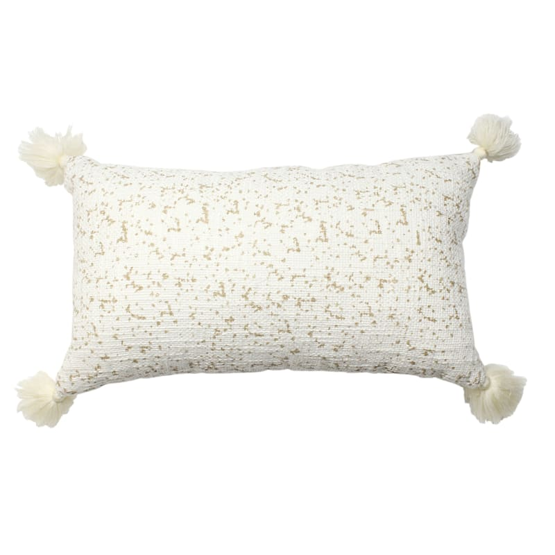 Textured Cotton Pillow With Scattered Dot Print 12X20